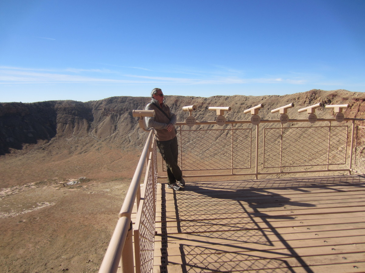 My brother-in-law standing on observation deck above the Crater.