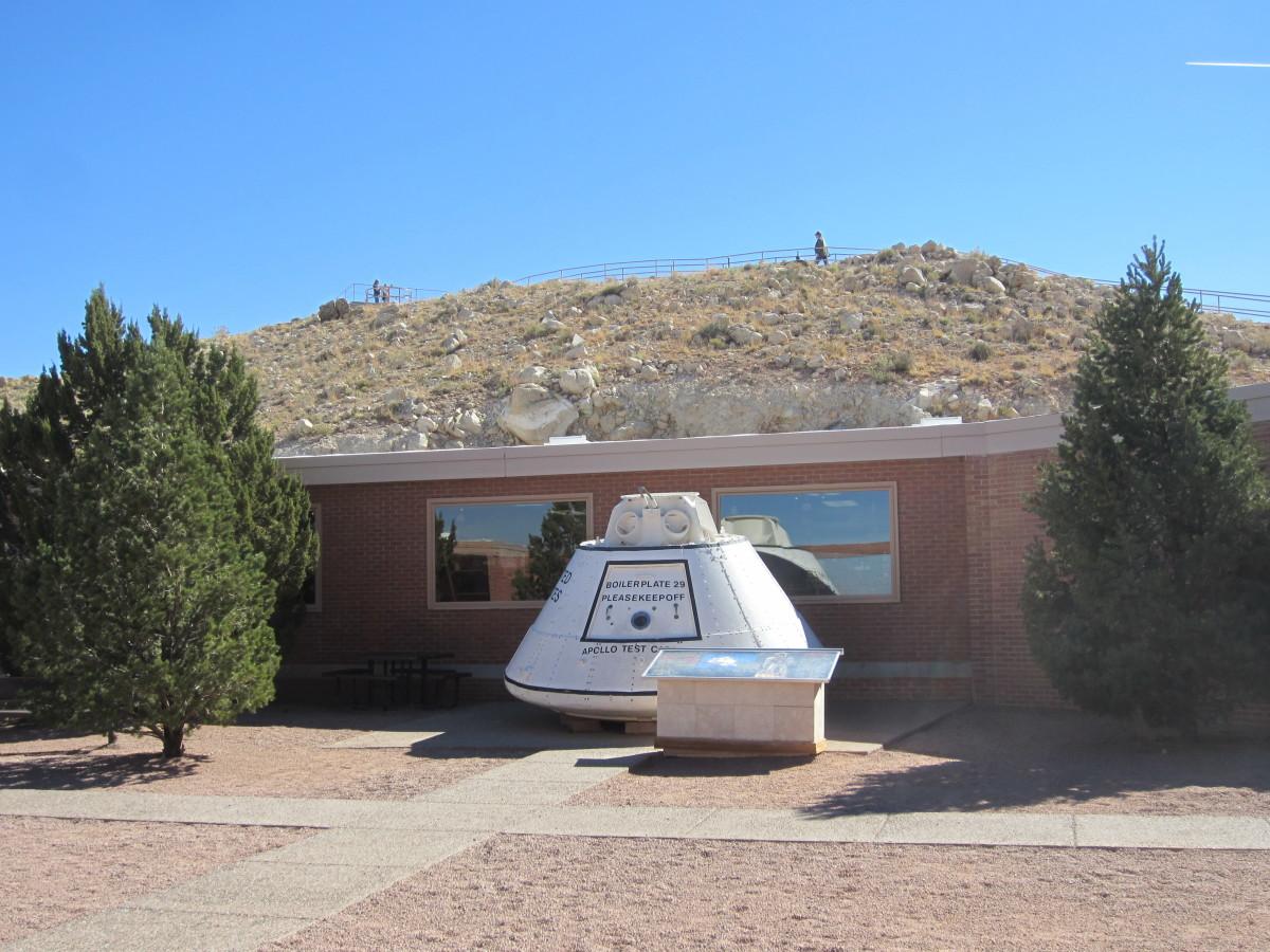 Apollo Training Capsule in front of the museum.