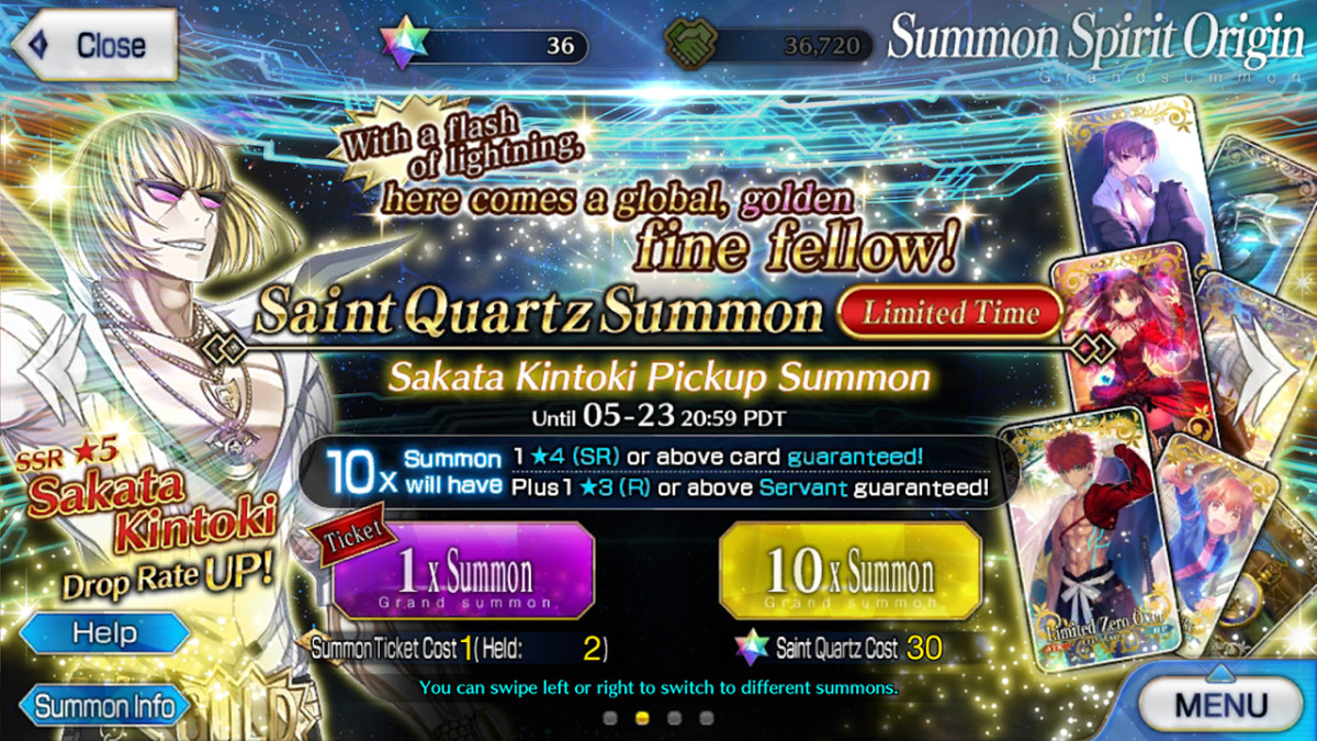 """Rolling gacha for """"Fate/Grand Order""""."""