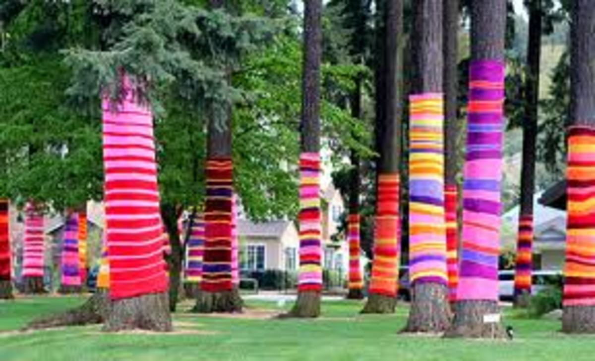 Yarn Bomb Trees Art
