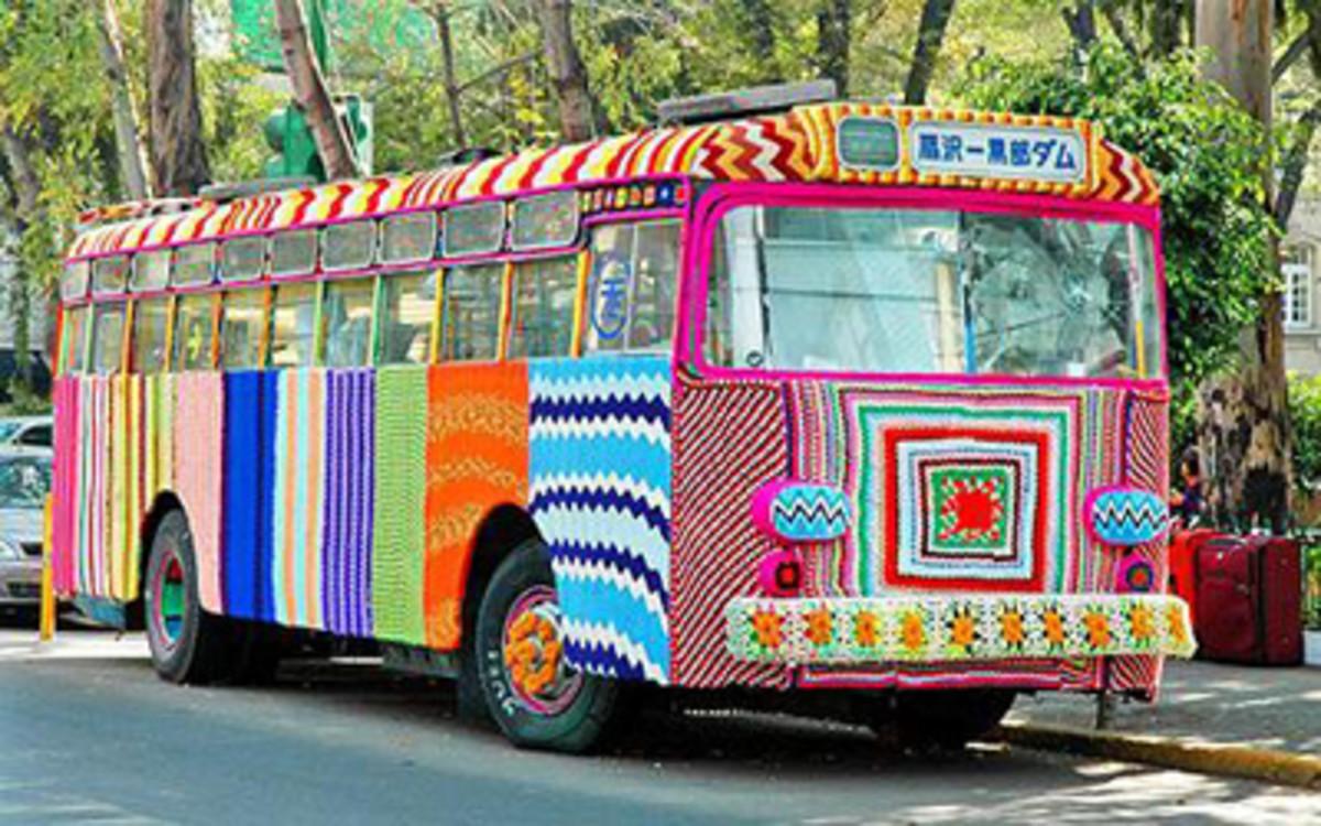 Yarn Bomb Bus Art