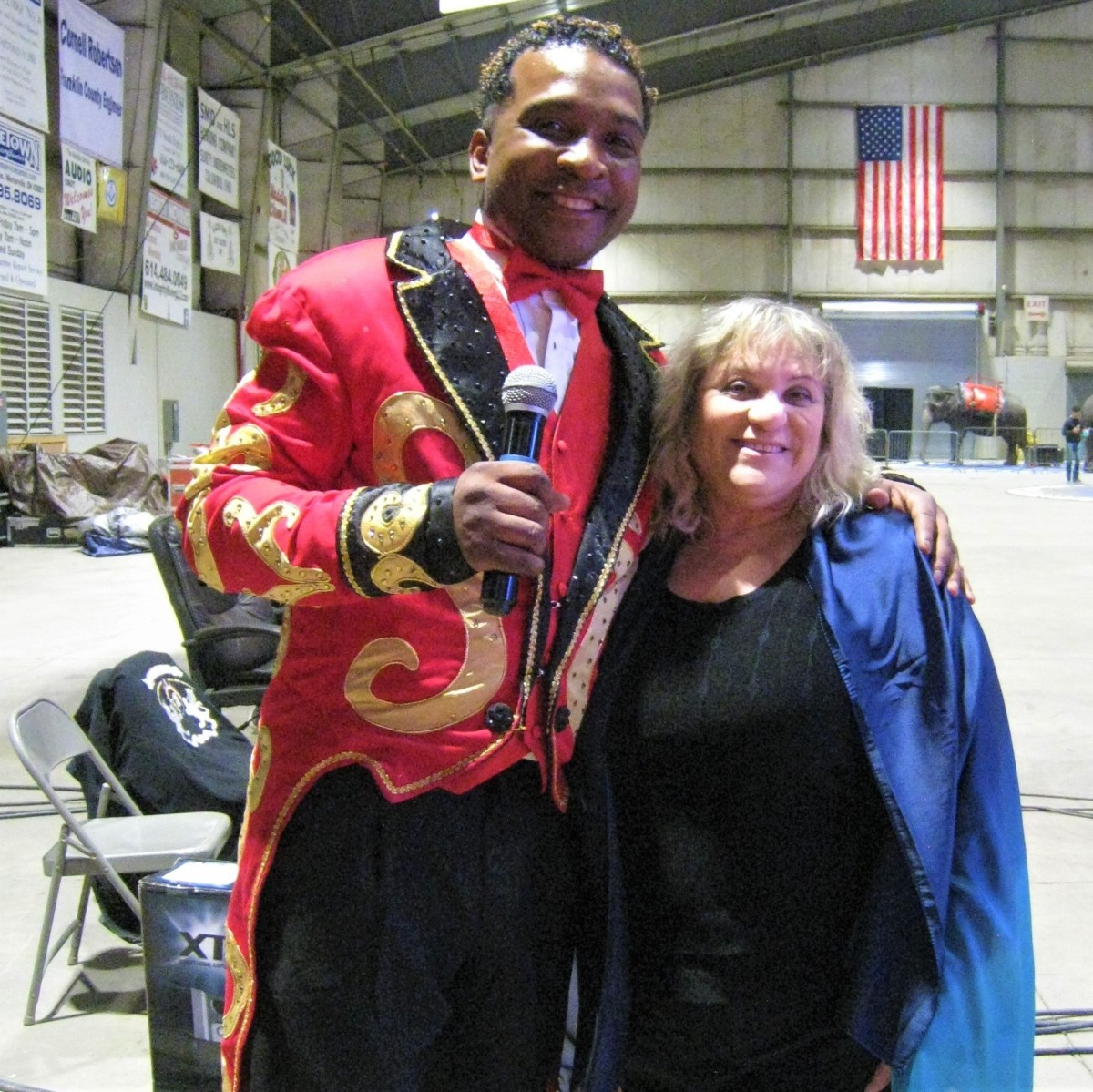 Teri, with ringmaster Andre McClain.  Hey, I'm only five feet tall ...