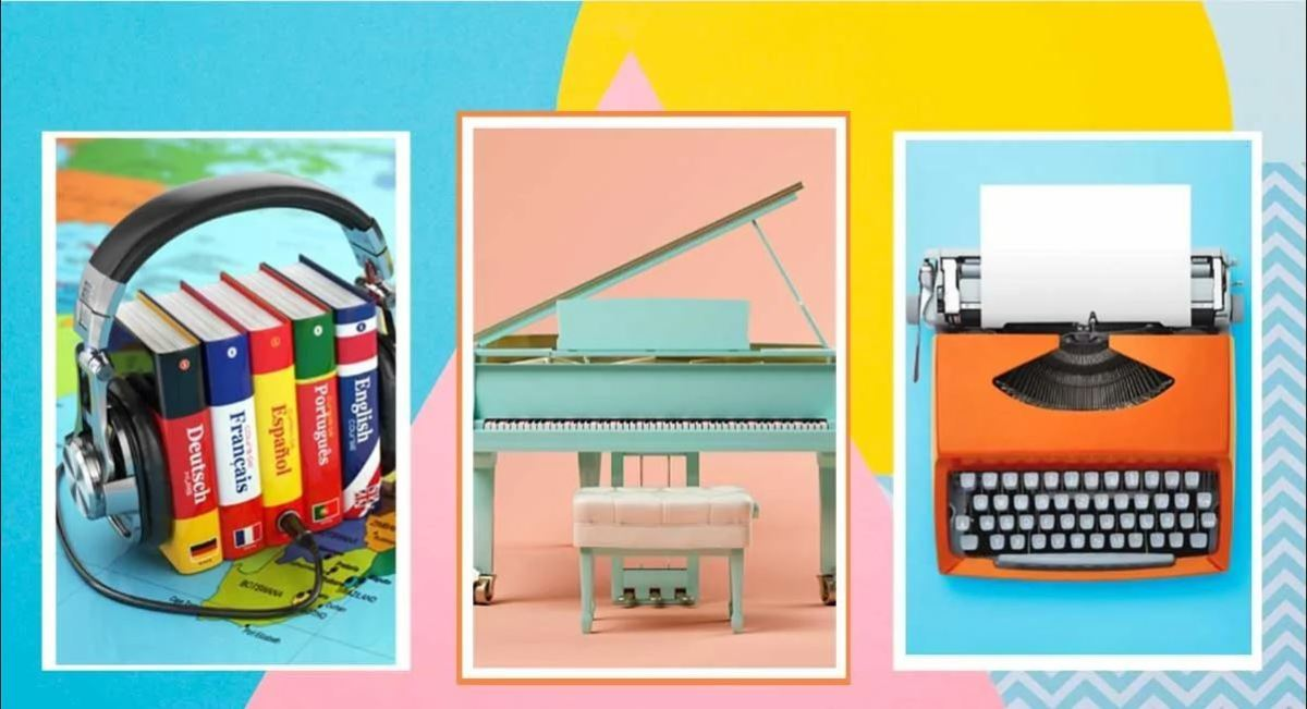 Three images of: language books with headphones, a pale blue piano, and a red typewriter.