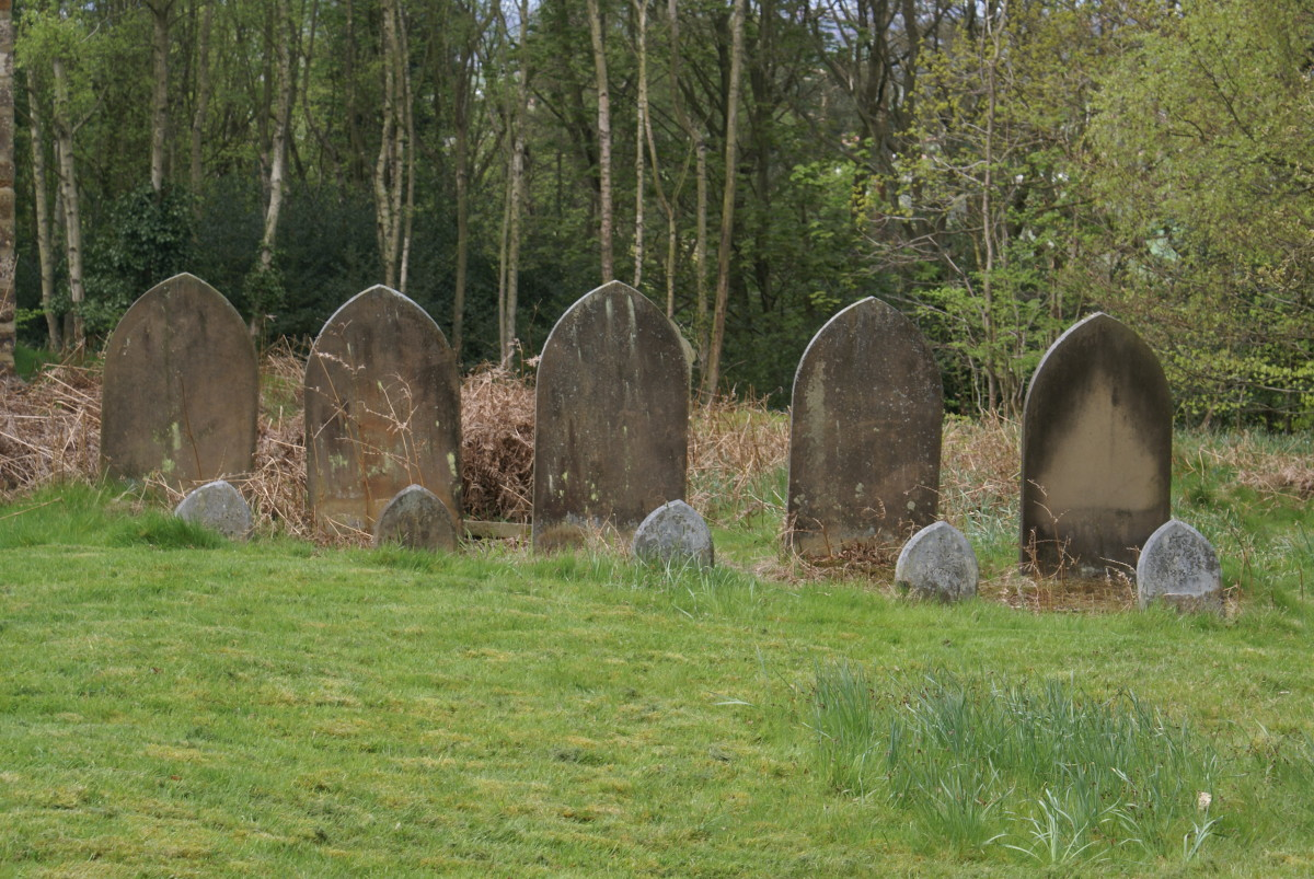 A family row of gravestones