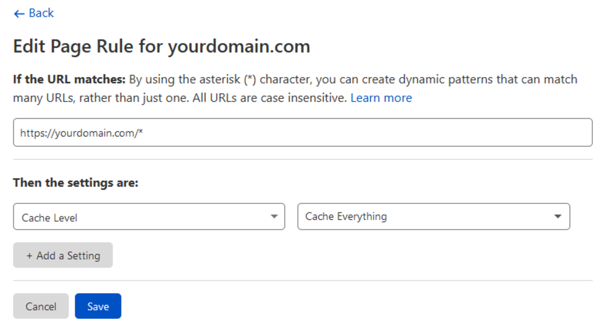 """""""Cache Everything"""" Page Rule"""
