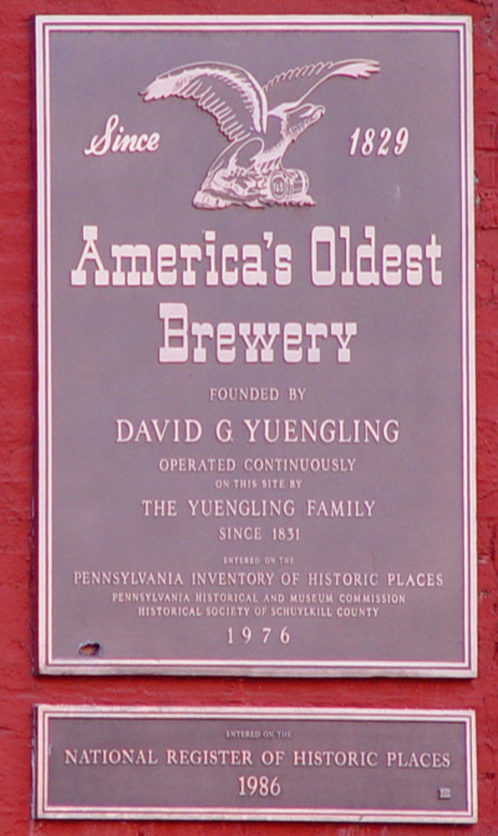 Plaque on the outside of the Yuengling brewery. Established in 1829, D. G. Yuengling & Son is the oldest operating brewing company in the United States. The brewery operates two facilities in Pennsylvania as well as the brewery in Tampa, Florida.