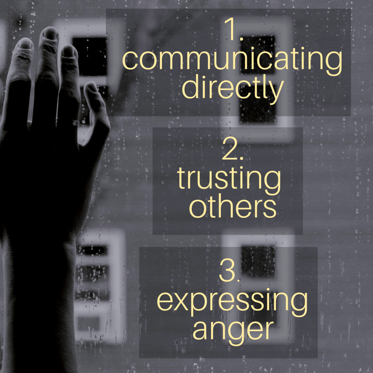 1. Communicating directly. 2. Trusting others. 3. Expressing anger.