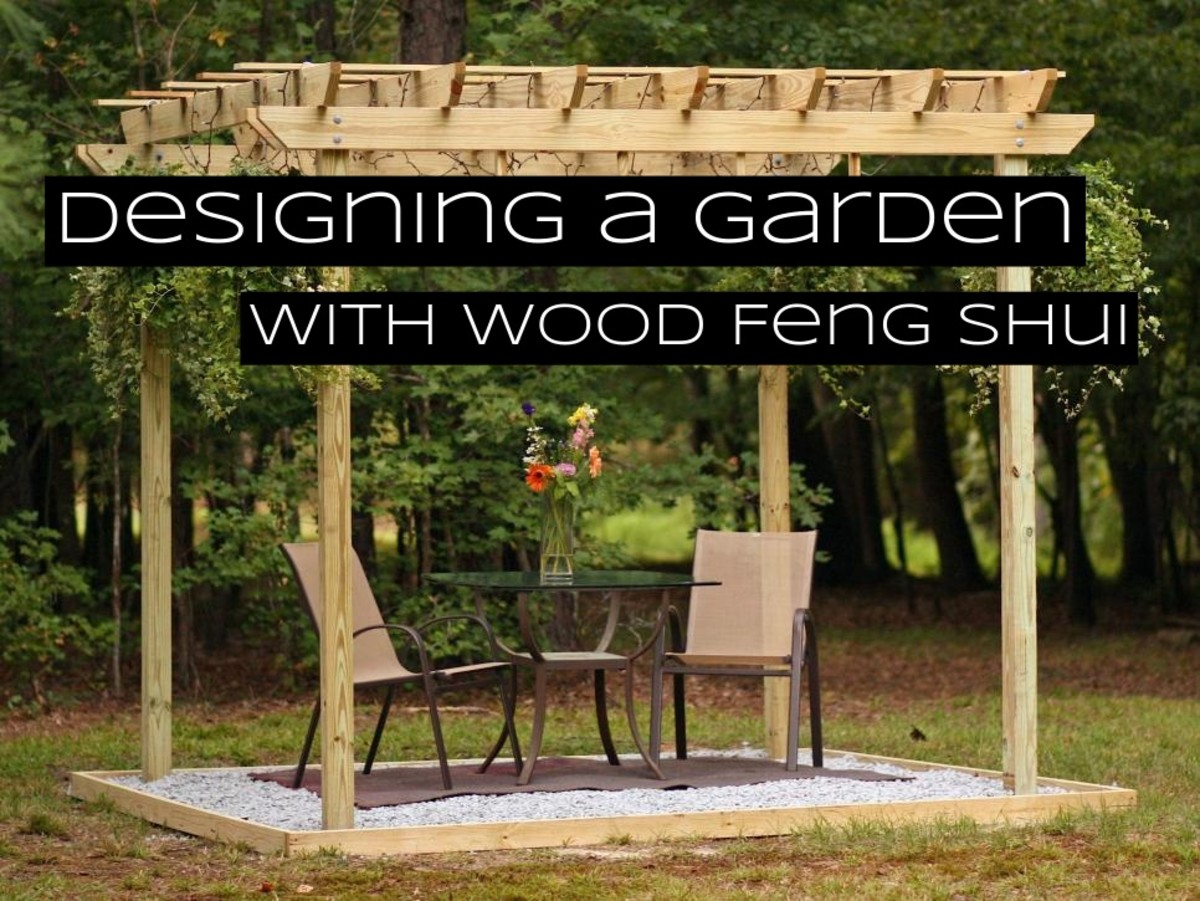 The wood element is empowered with the color green and columns. Trellises and pergolas are perfect in sections dedicated to wood.