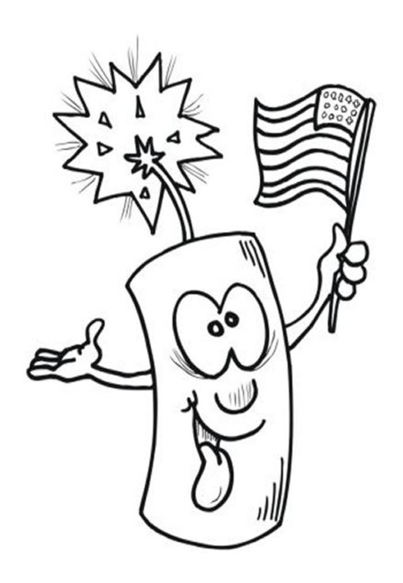 4th-of-July Fireworks Kids Coloring Pages and Colouring Pictures to Print - Caricature Cartoon