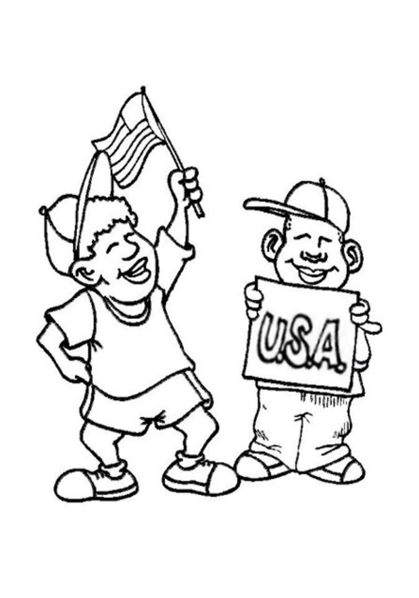 4th-of-July Fireworks Kids Coloring Pages and Colouring Pictures to Print - Parade Time