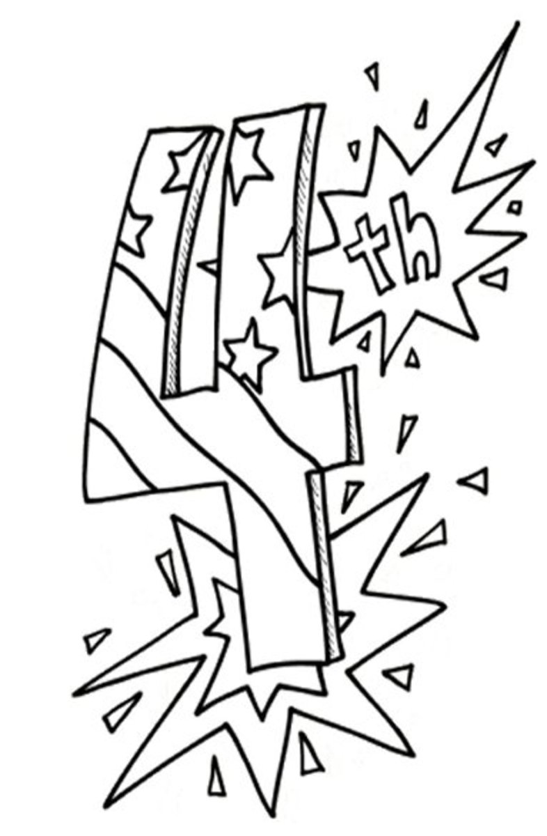 4th-of-July Fireworks Kids Coloring Pages and Colouring Pictures to Print - Ending Display