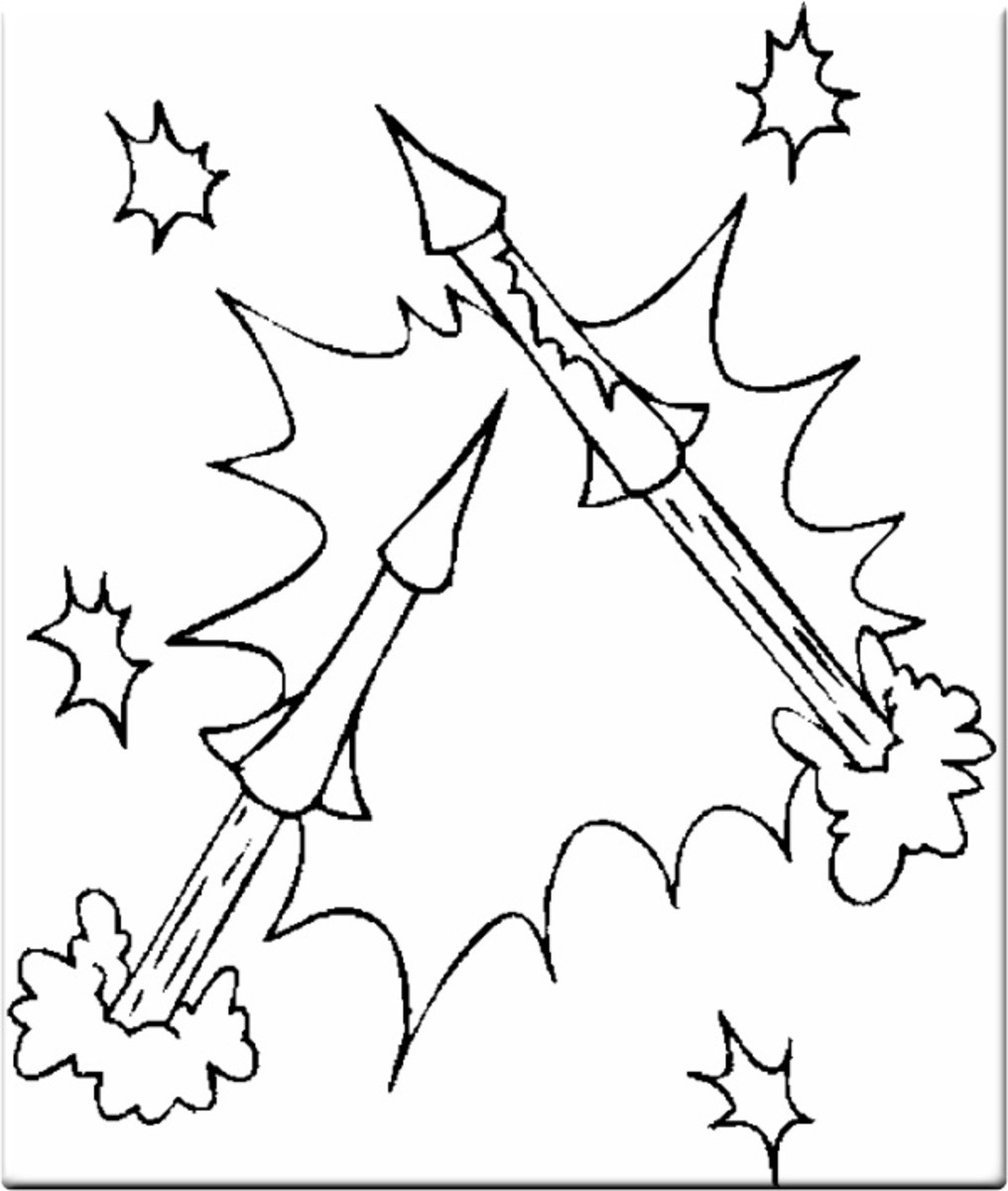 4th-of-July Fireworks Kids Coloring Pages and Colouring Pictures to Print -Ballistics