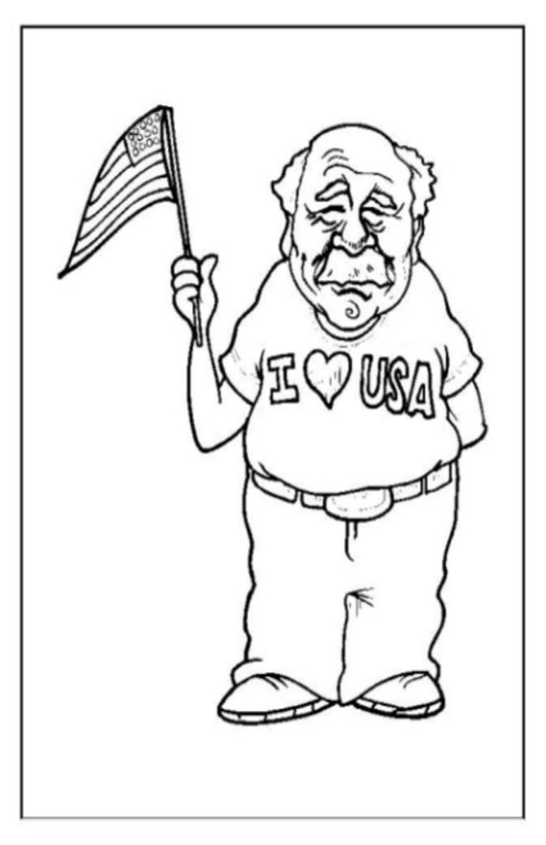 4th-of-July Fireworks Kids Coloring Pages and Colouring Pictures to Print - Even Grandpa Gets Excited, Sort of