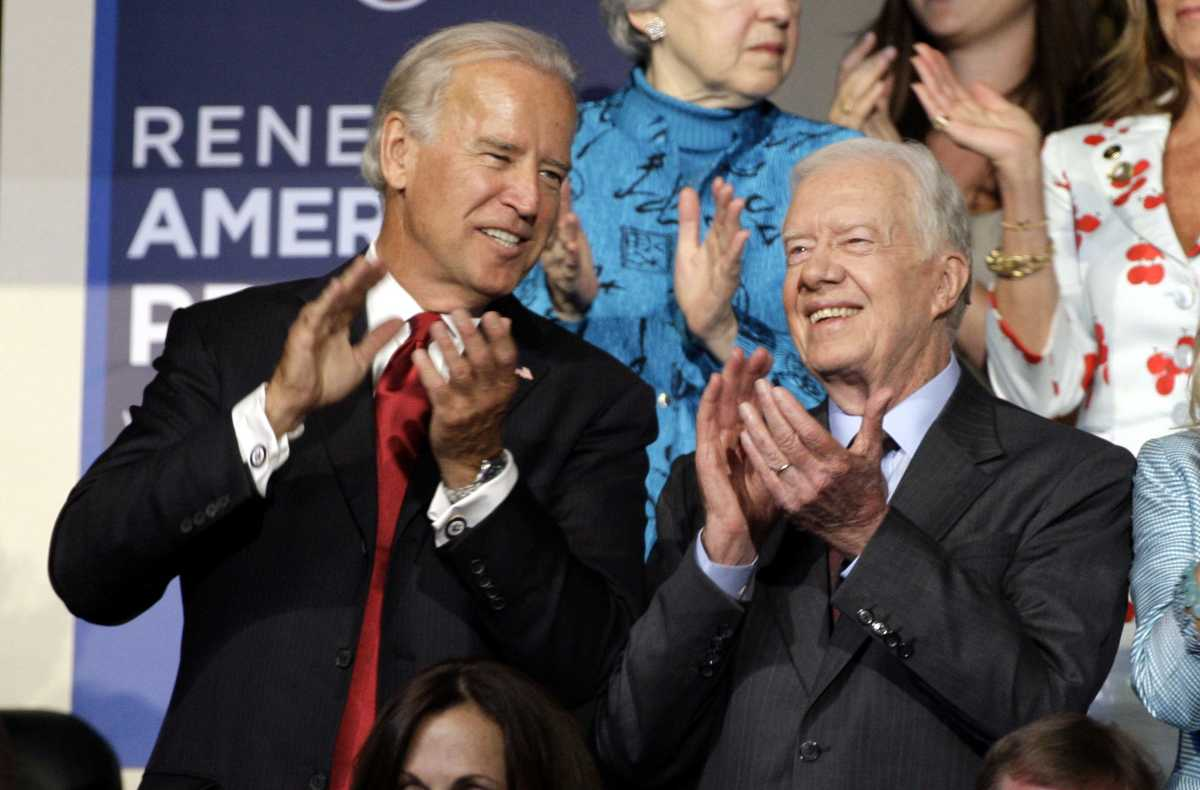 Former President Jimmy Carter and then-Democratic Vice Presidential Nominee Joe Biden at the 2008 Democratic National Convention in Denver, Colorado.