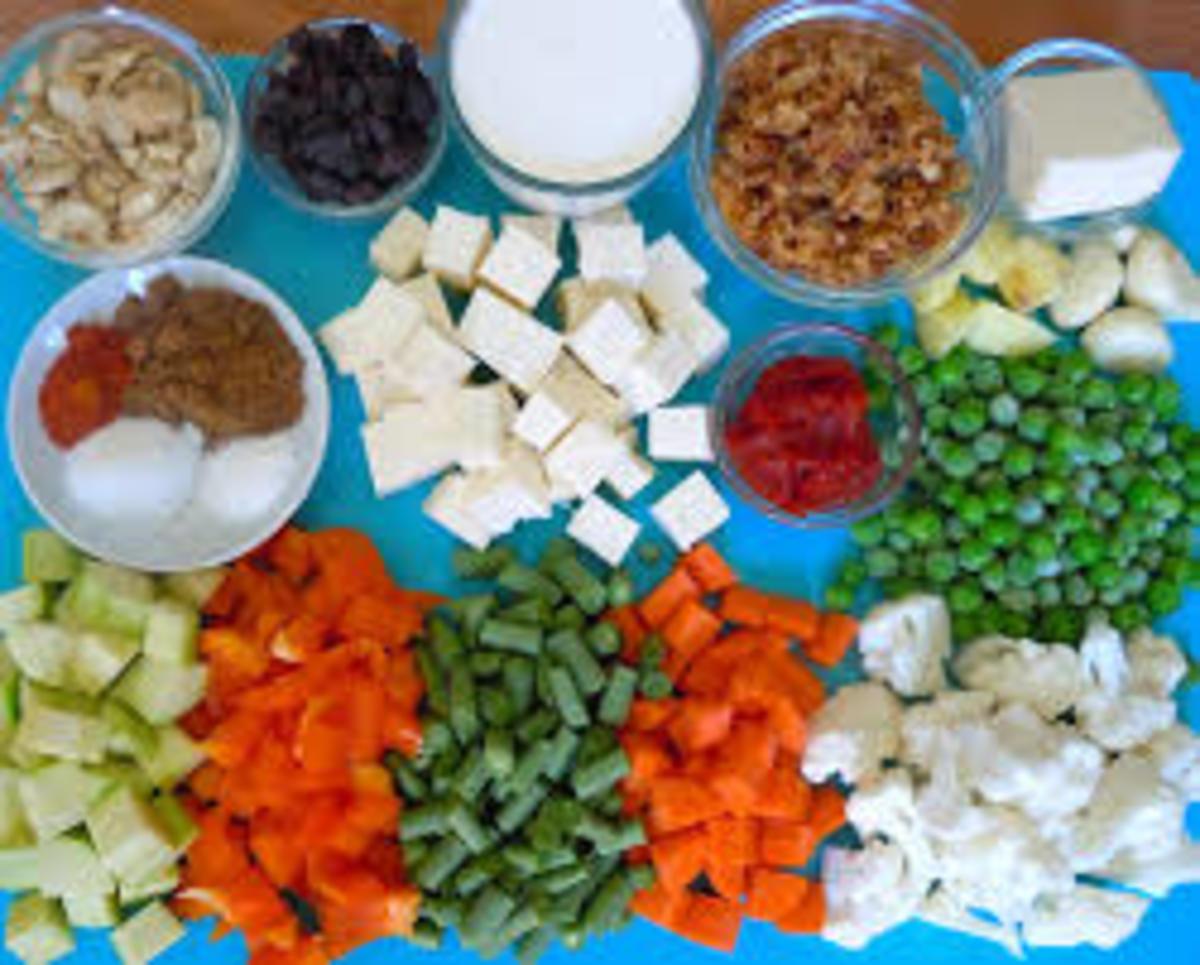 Ingredients being used for Veg. Navratan Korma.