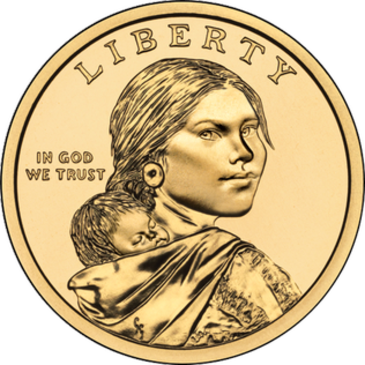 U.S. Sacagawea Dollar coin. Issued from 2000 to 2008.