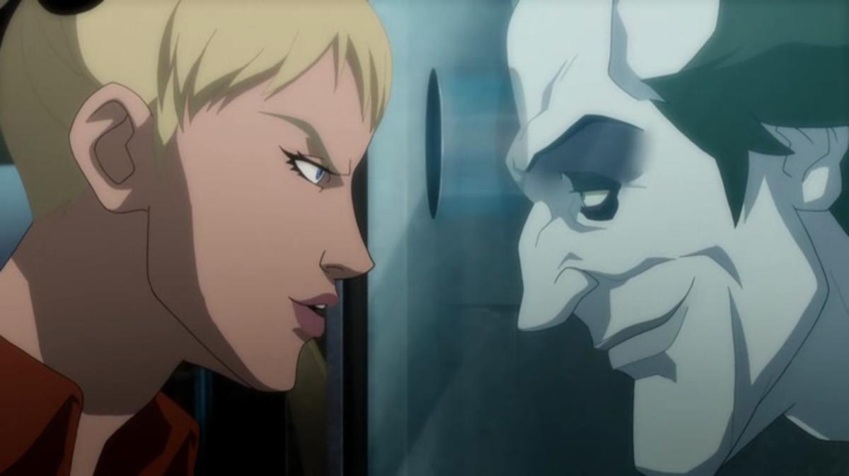 Harley confronts the Joker in Arkham Asylum.