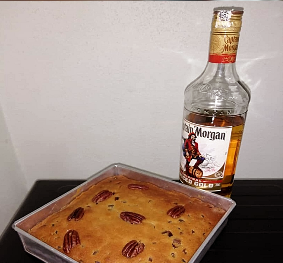 Rum Fruit cake made with mixed fruits laced with Captain Morgan Rum