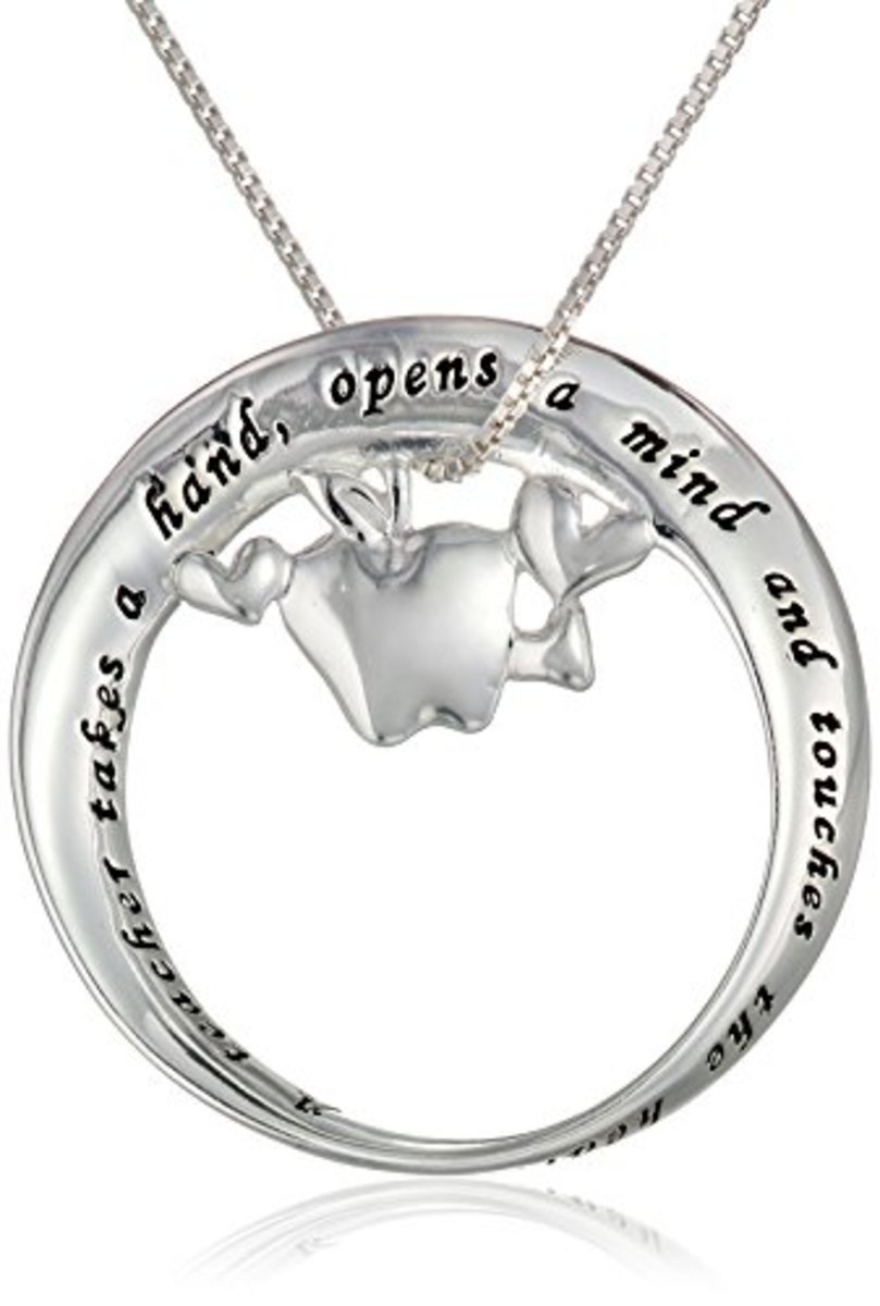 "Sterling Silver ""A Teacher Takes A Hand, Opens A Mind and Touches The Heart"" Mobius Circle with Apple Pendant Necklace"