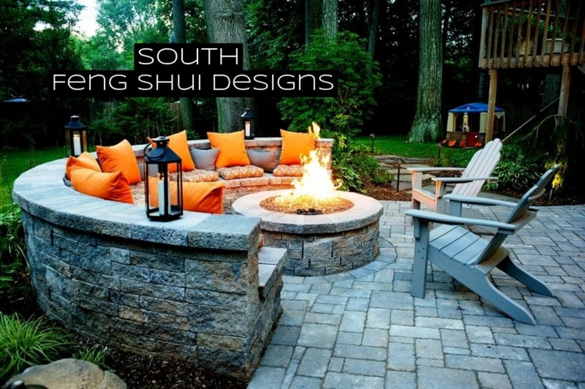 The South is the space for fame and reputation. It's the perfect spot for a firepit or a grill. Embrace warm tones here: reds, oranges, yellows, pinks, and whites.