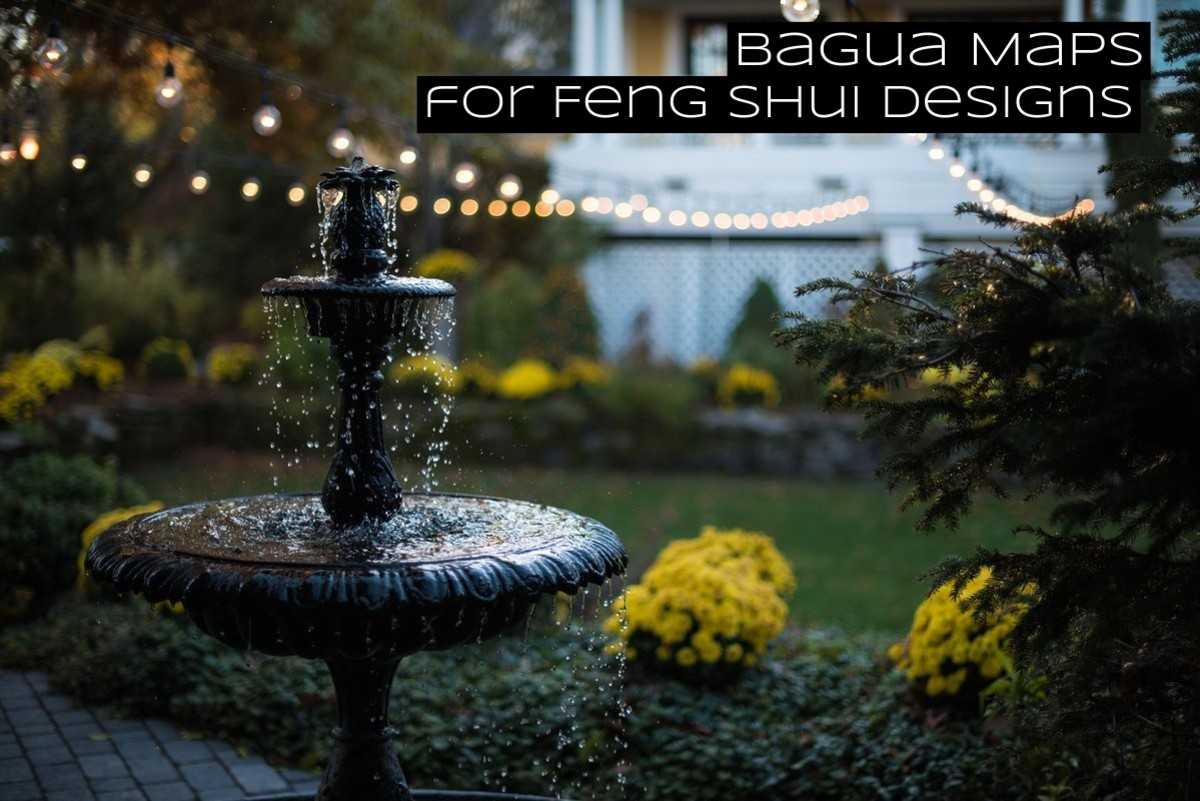 Designing a feng shui garden is made easy with a bagua map. The map will indicate where you should focus on each element and for what aspect in your life.