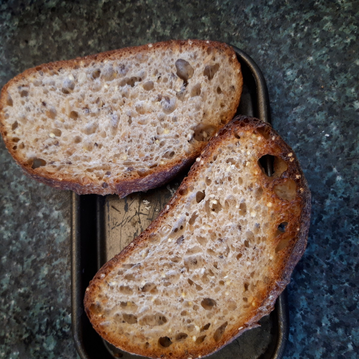 These dampened and baked slices of bread are still very crunchy on the crust, but the insides are soft.