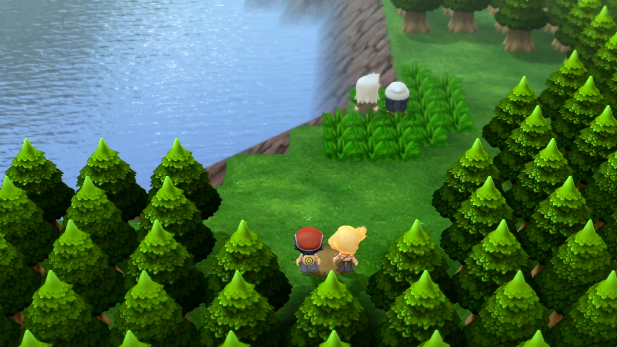 """Some features from """"Platinum Version"""" have been hinted at, but this scene reproduces the opening of the original """"Diamond and Pearl"""" games, which had a different opening from """"Platinum"""" Also, see how bland and lifeless that scenery is?"""