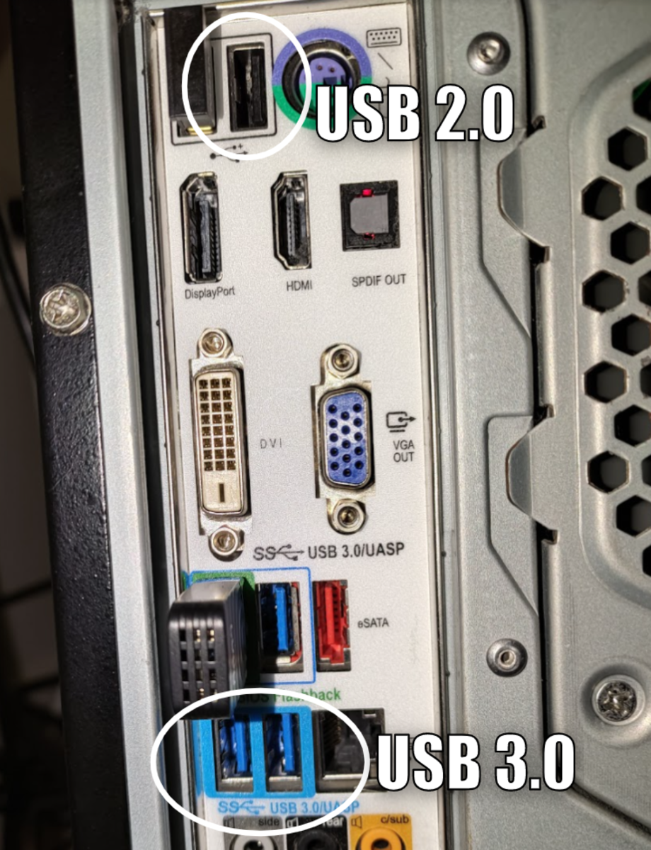 USB 3.0 will have blue colored ports. In this case the port is also outlined in blue, but often it's just a small piece on the inside where the cable connects that is painted blue.