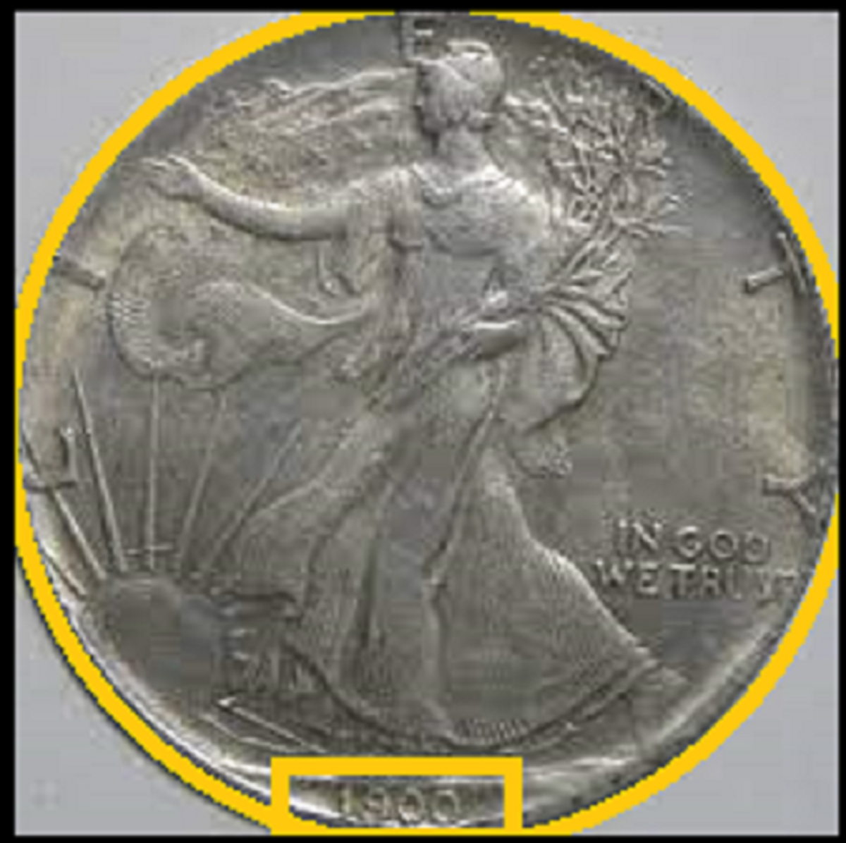 Example of a low-quality fake Silver Eagle Observe with incorrect date