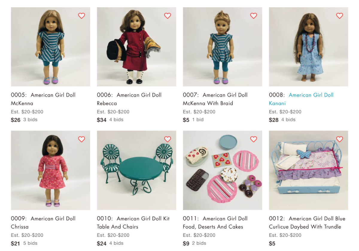 American Girl products for sale in an American Girl Consignment auction