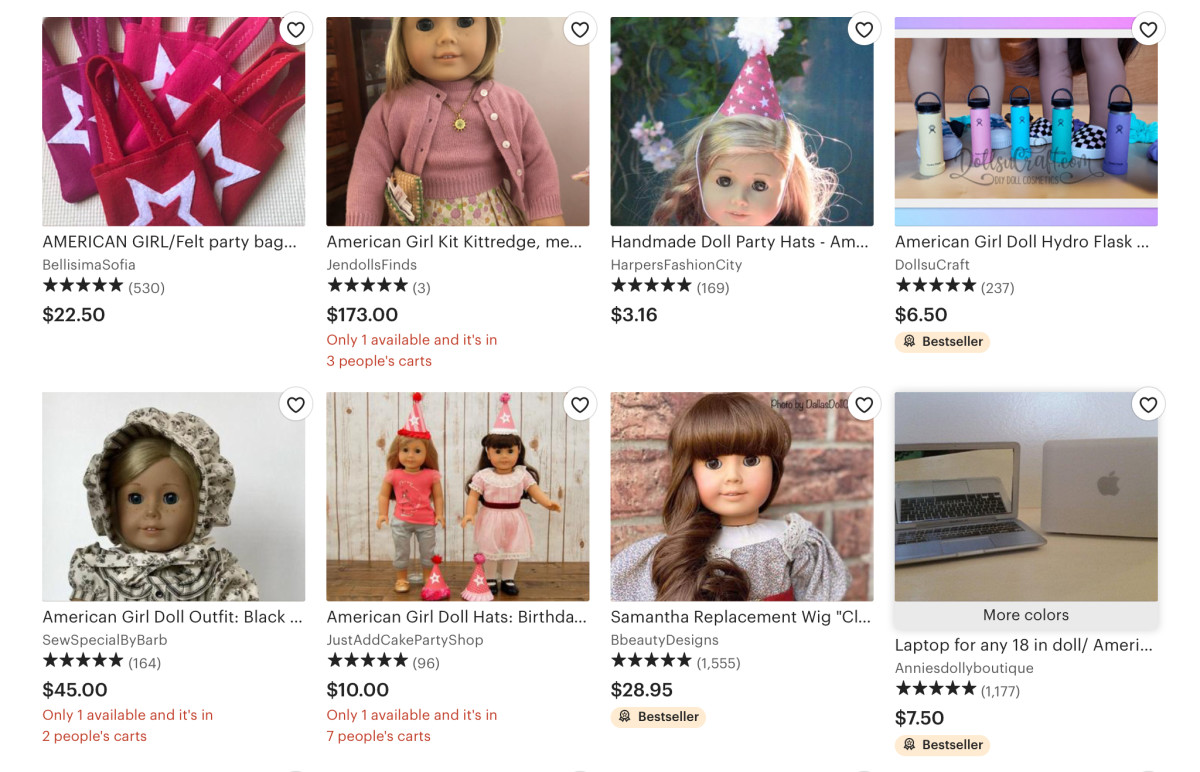 Listings for American Girl products on Etsy, including used American Girl merchandise and original items created by Etsy sellers.
