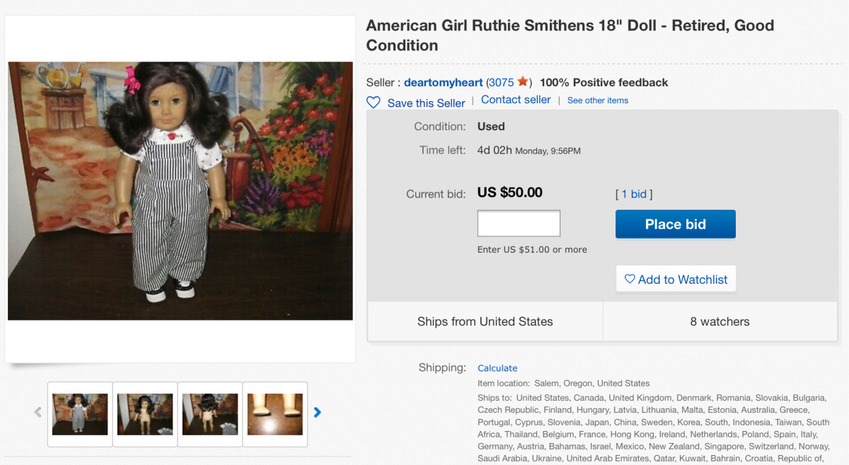 A retired Ruthie doll up for auction on eBay, with the highest bid so far only at $50