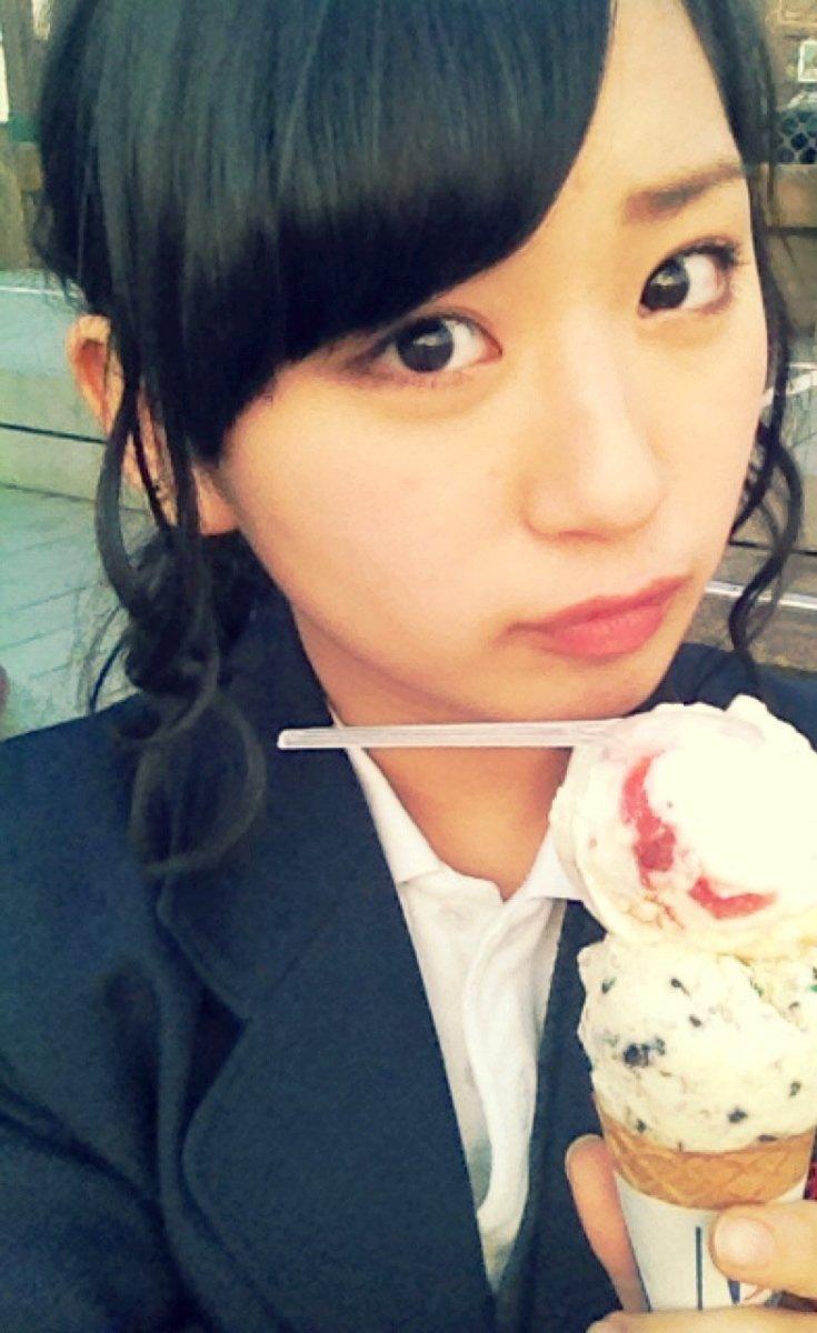 Haruna Kinoshita about to eat ice cream.