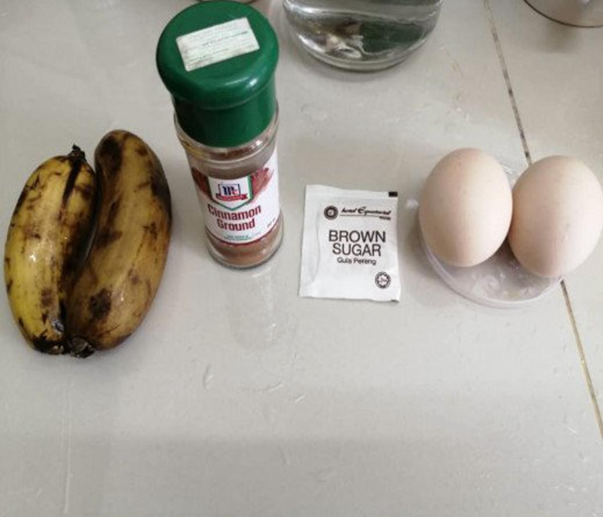 (L - R) Bananas, Cinnamon Powder, Brown Sugar, and Free Range Chicken Eggs