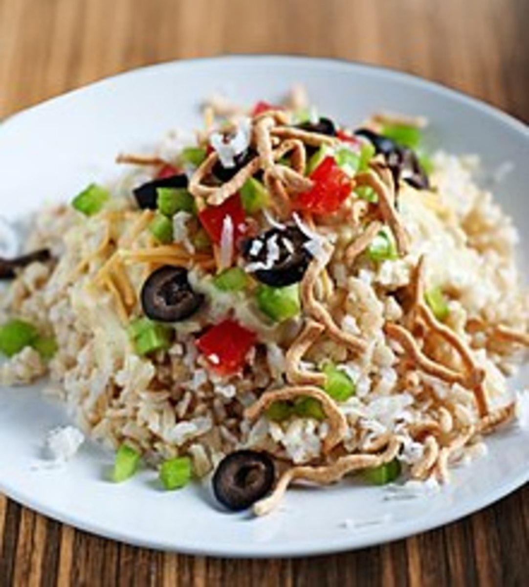 The delectable Hawaiian Haystack is probably more accurately described as rice and Chinese vegetables plus pineapple and/or sweet and sour pineapple sauce and/or chopped peanuts and/or soya sauce. And maybe olives and cheese.