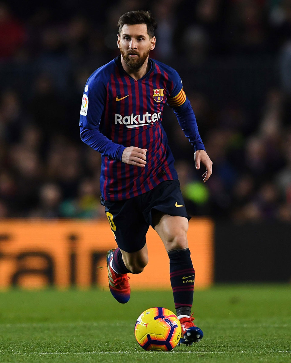 Lionel Messi in his traditional Barcelona colors.