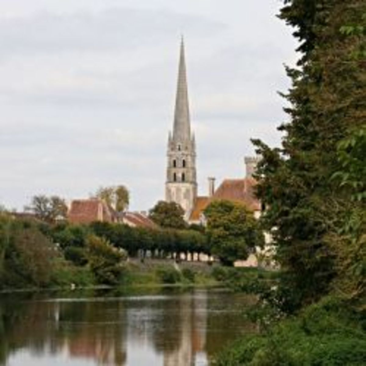 The Abbey Church of St Savin sur Gartempe viewed from across the river