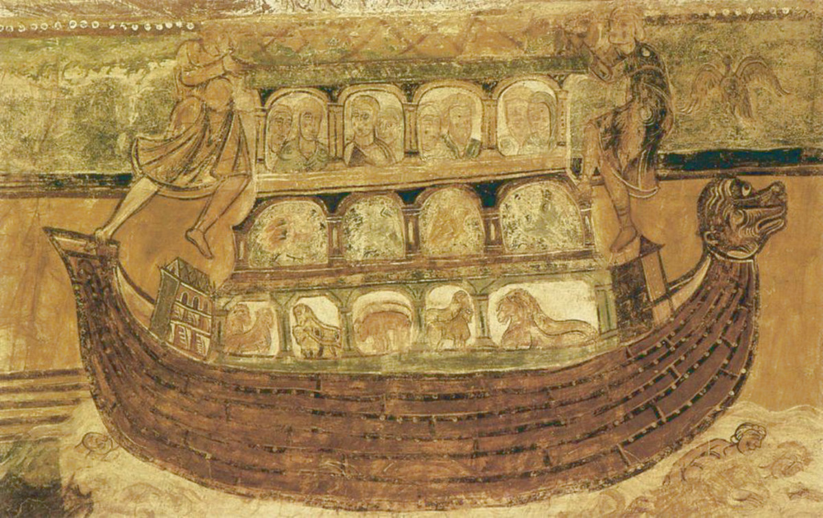 Noah's Ark painted on the ceiling of the nave at the Abbey Church of St Savin
