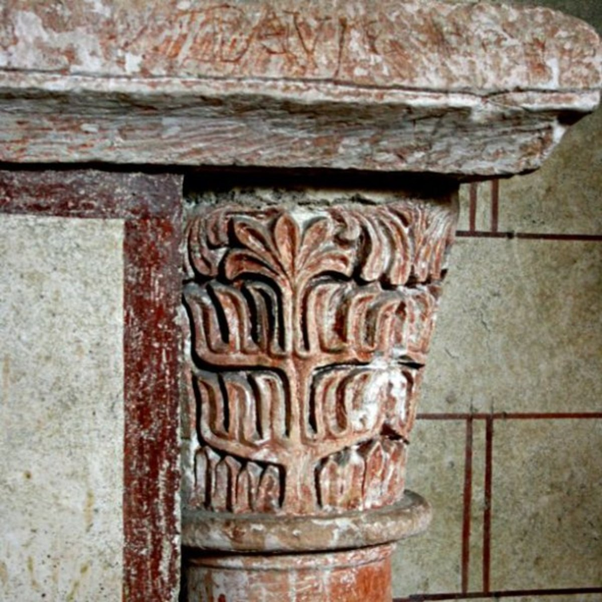 Carving on a column