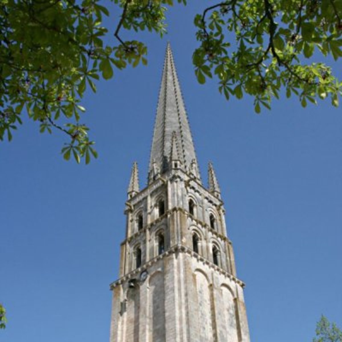 The spire of the Abbey Church of St Savin