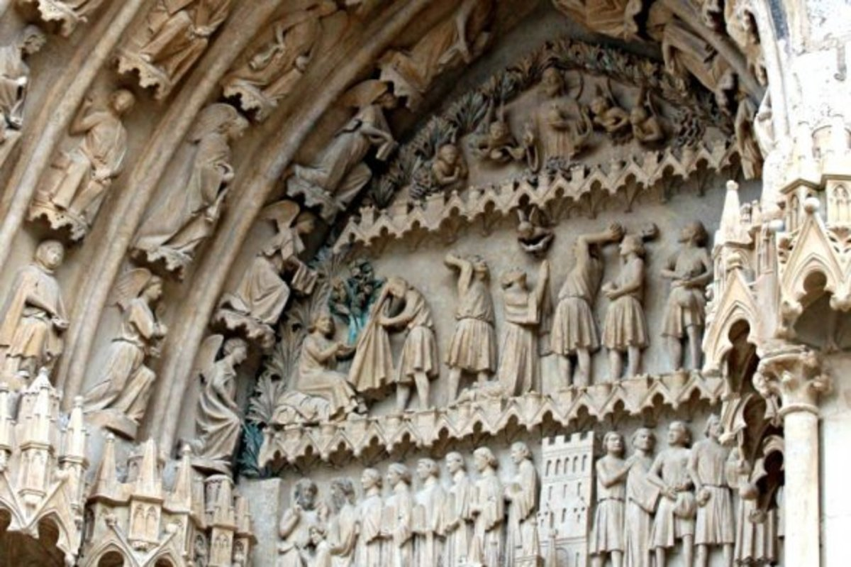 Carvings above one of the five entrances to Bourges Cathedral