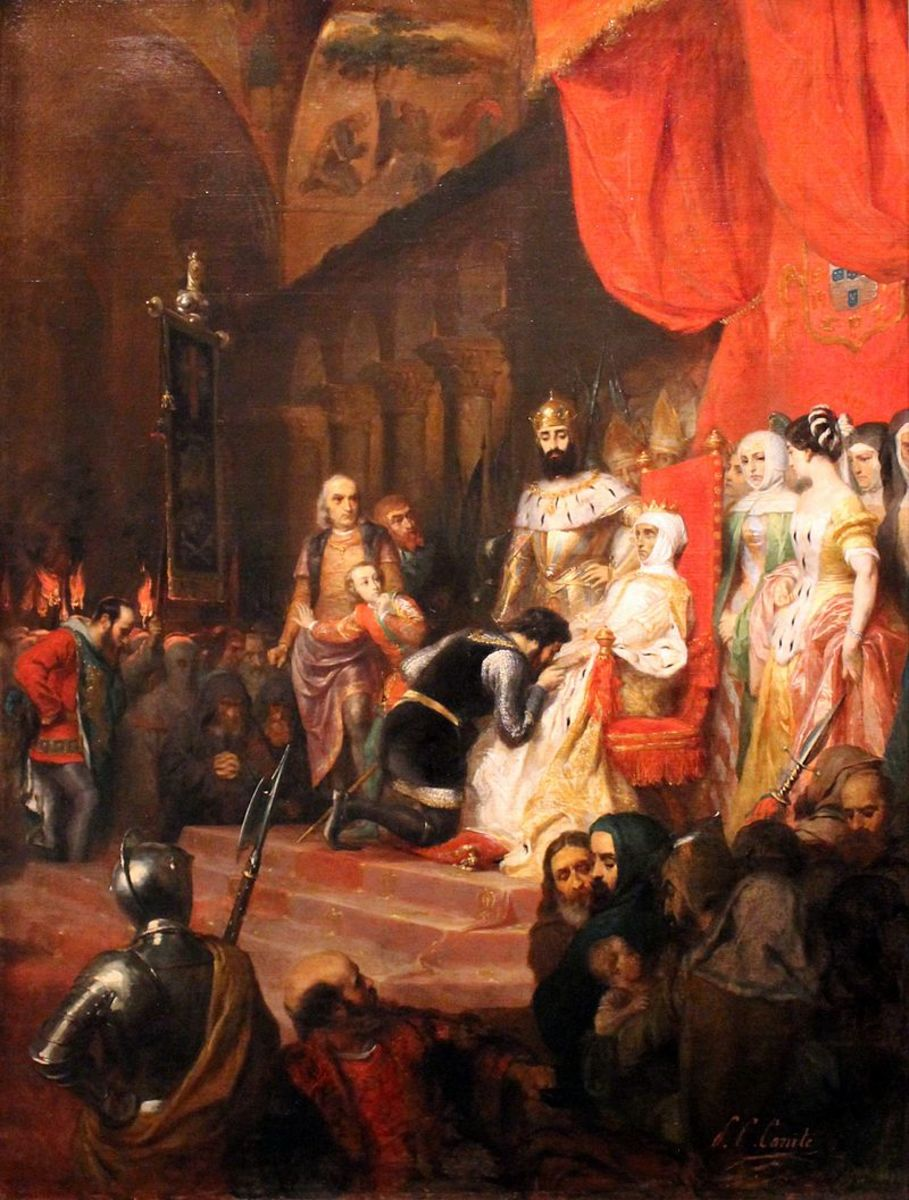 In about 1849 Pierre-Charles Comte painted the coronation of Inês.