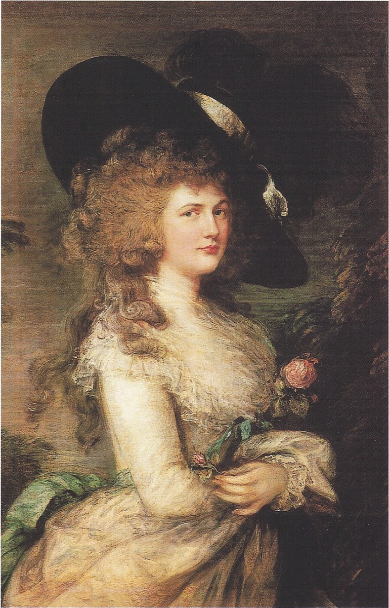 This is a photograph of the original oil portrait of Georgiana painted by Thomas Gainsborough.