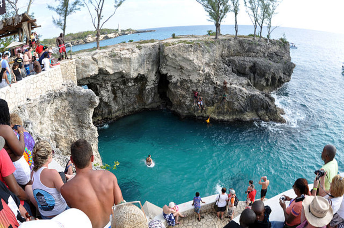 Partying at Ricks Cafe while divers jump from the cliffs on Negril's West End