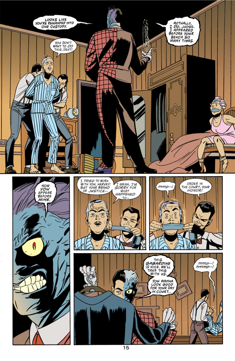 Two-Face kidnaps Judge Lawrence Watkins for revenge.