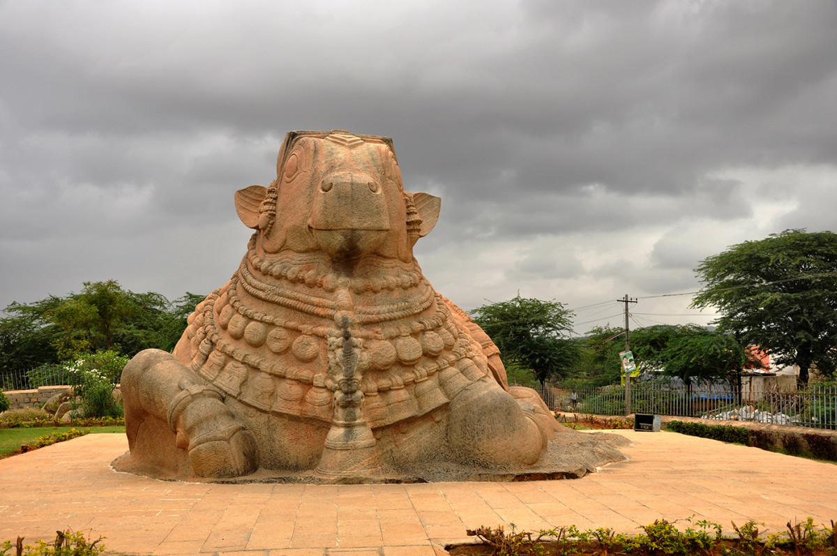 This enormous structure of Nandi the bull  is 27 feet long and 15 feet high and is the biggest monolithic bull in the world.