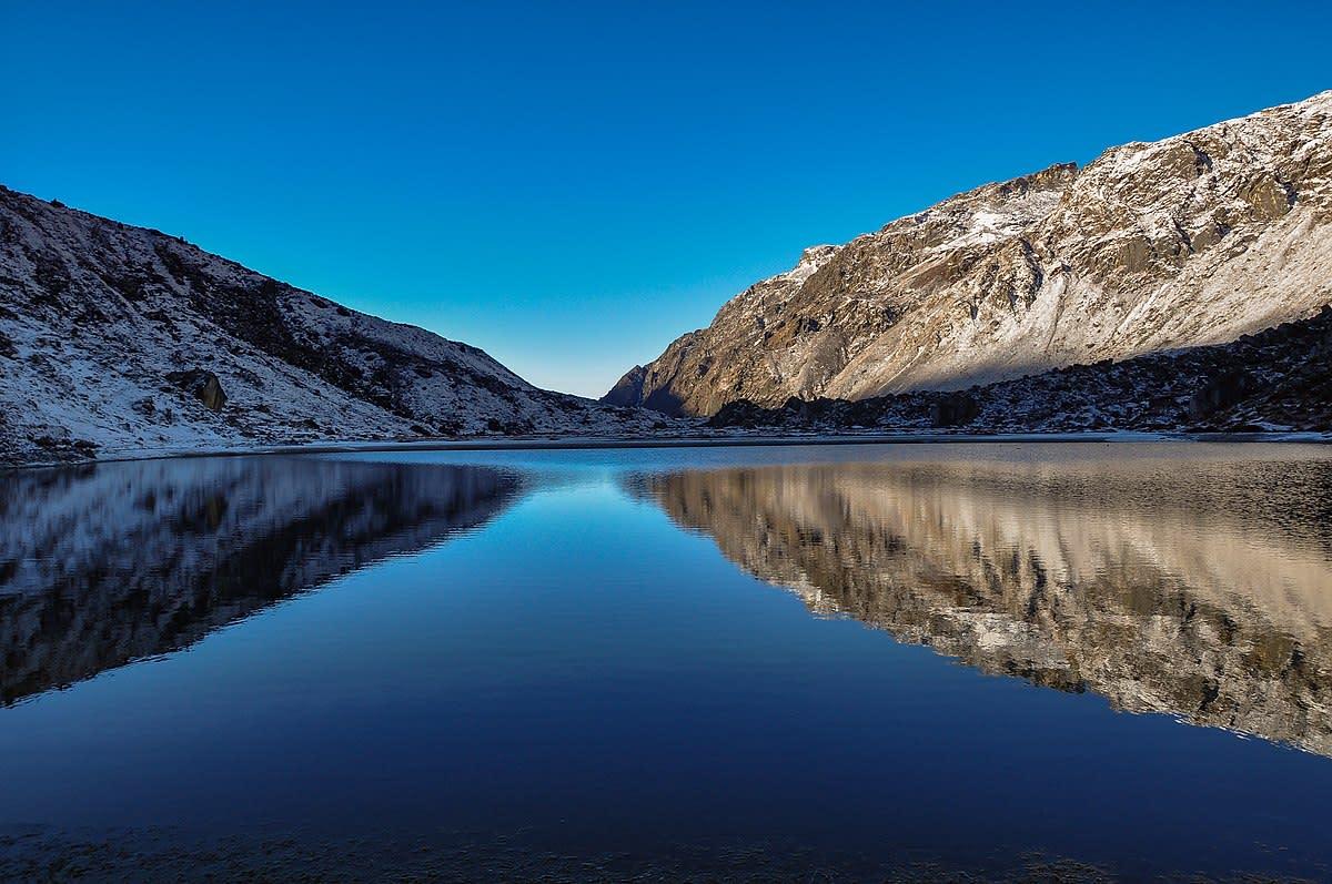 Considered to be sacred, lake on the way to Goecha La Trek