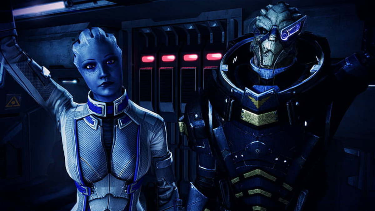"""A screenshot of Garrus and Liara from """"Mass Effect 3."""""""