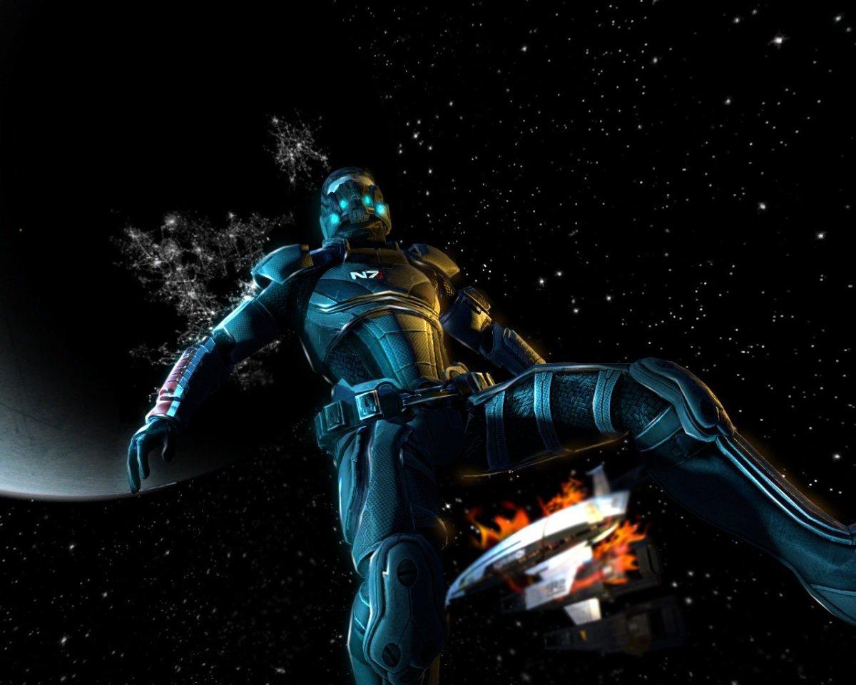 """Fan art of Shepard's death in the opening of """"Mass Effect 2."""""""