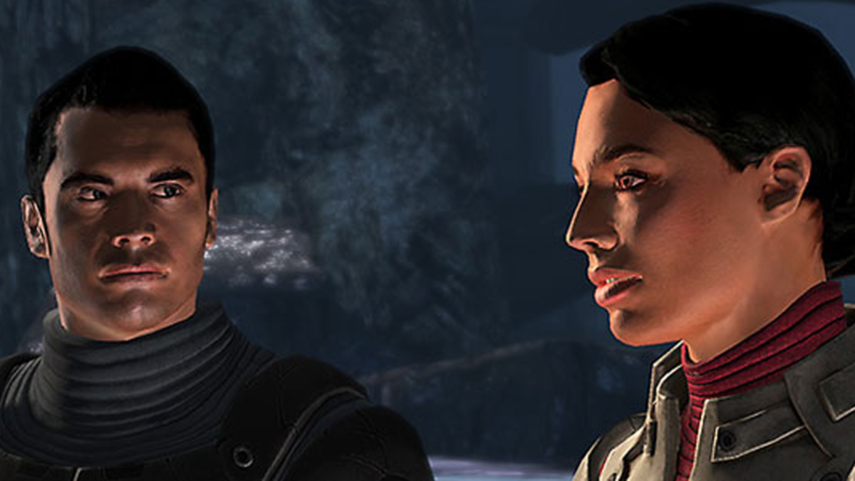 A screenshot of Kaidan and Ashley in the first game.